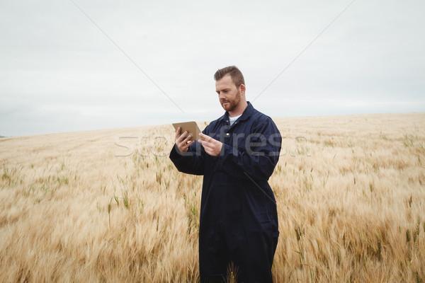 Сток-фото: фермер · цифровой · таблетка · области · интернет