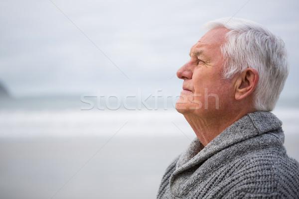Thoughtful senior man standing Stock photo © wavebreak_media