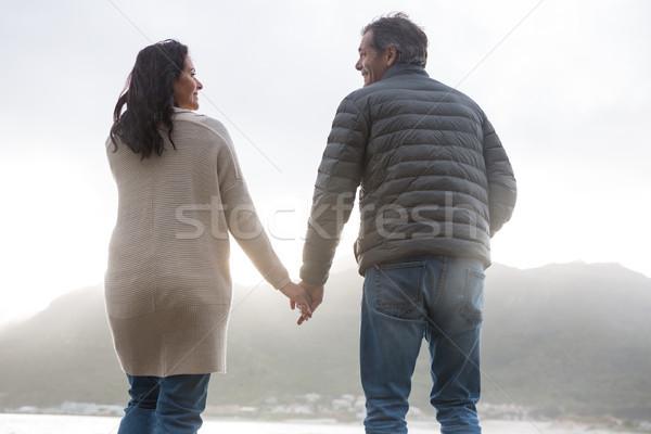 вид сзади пару , держась за руки пляж человека зима Сток-фото © wavebreak_media