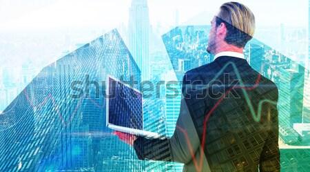 отцом сына superhero город Blue Sky небе девушки Сток-фото © wavebreak_media