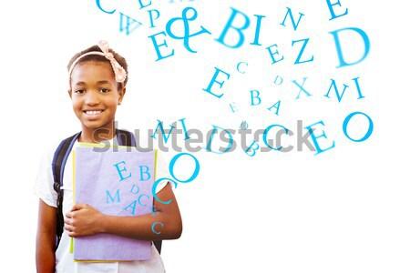 Portre öğrenci kitaplar beyaz alfabe Stok fotoğraf © wavebreak_media