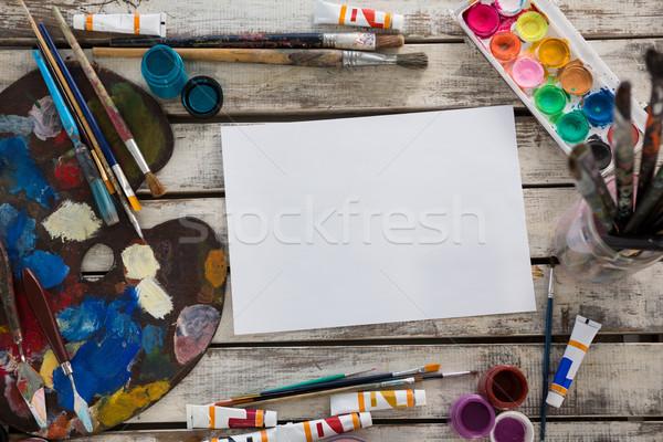 水彩画 紙 パレット 塗料 木製 表面 ストックフォト © wavebreak_media