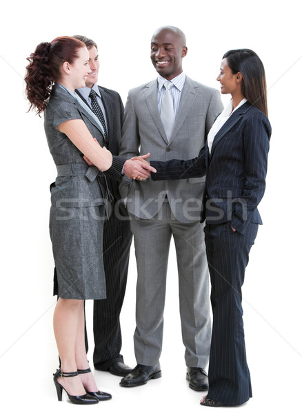 Бизнес-партнеры рукопожатием Постоянный белый рук Сток-фото © wavebreak_media