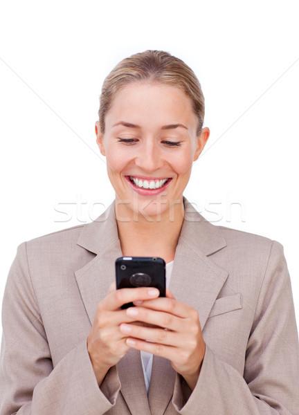 положительный деловая женщина текста изолированный белый Сток-фото © wavebreak_media