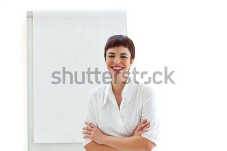 śmiechem kobieta interesu fałdowy broni pokładzie działalności Zdjęcia stock © wavebreak_media