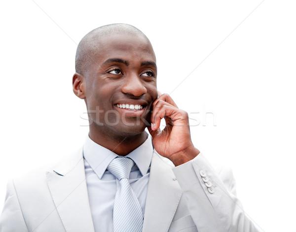 портрет бизнесмен говорить телефон служба улыбка Сток-фото © wavebreak_media