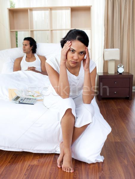 Portre öfkeli aşıklar oturma yatak aile Stok fotoğraf © wavebreak_media