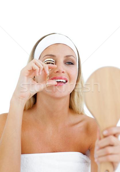 Mujer hermosa de pestañas aislado blanco manos sonrisa Foto stock © wavebreak_media