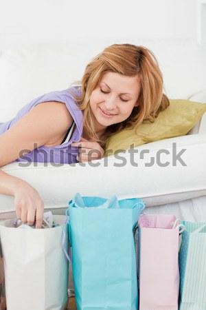 Encantador mulher lavanderia branco casa fundo Foto stock © wavebreak_media