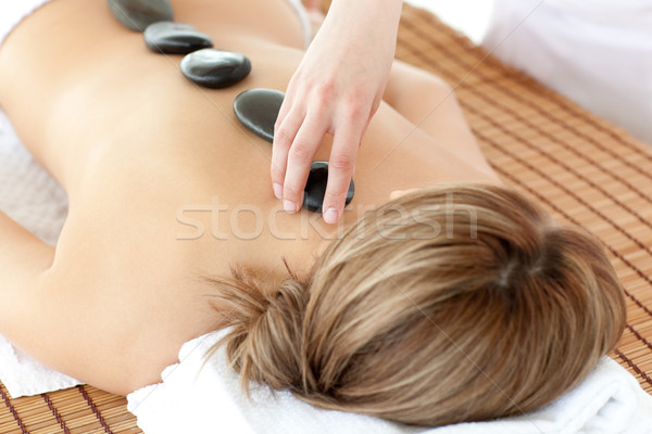 Relaxed woman having a stone therapy Stock photo © wavebreak_media