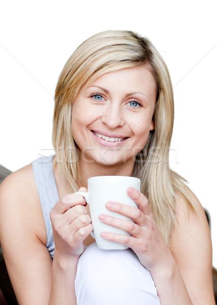 Gyönyörű nő tart csésze kávé fehér űr Stock fotó © wavebreak_media