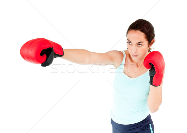 Hispanos mujer guantes de boxeo blanco Foto stock © wavebreak_media
