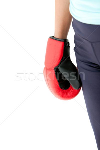 Vuist latino vrouw bokshandschoenen Stockfoto © wavebreak_media