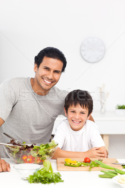 Portrait of a father and his son preparing their lunch Stock photo © wavebreak_media