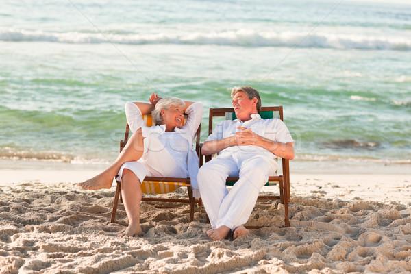 пожилого пару расслабляющая палуба стульев женщину Сток-фото © wavebreak_media