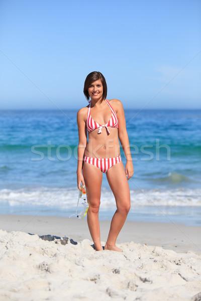 Bela mulher praia mulher biquíni palma peito Foto stock © wavebreak_media