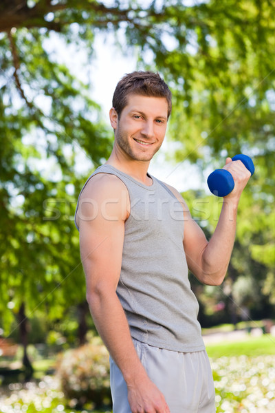Young man doing his exercises in the park Stock photo © wavebreak_media