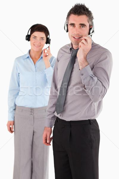 Portre ofis çalışanları beyaz ofis çalışmak çift Stok fotoğraf © wavebreak_media