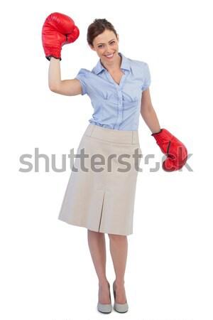 Portret kobiet bokser stałego w górę biały Zdjęcia stock © wavebreak_media