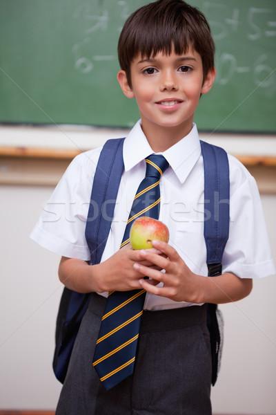 Portrait écolier pomme classe alimentaire Photo stock © wavebreak_media