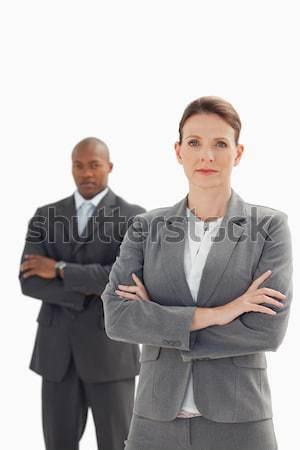 серьезный деловая женщина Постоянный бизнесмен рук заседание Сток-фото © wavebreak_media