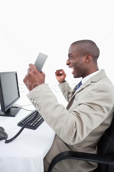 Portre başarılı satıcı telefon Stok fotoğraf © wavebreak_media
