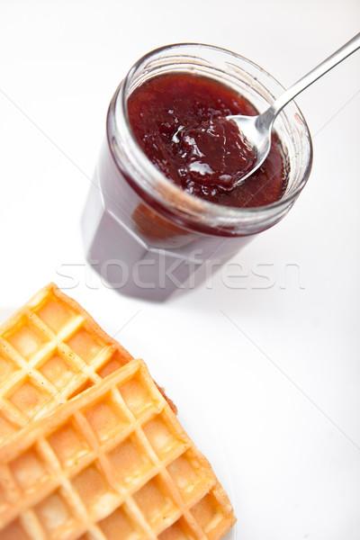 завтрак белый фон клубника Jam крупным планом Сток-фото © wavebreak_media