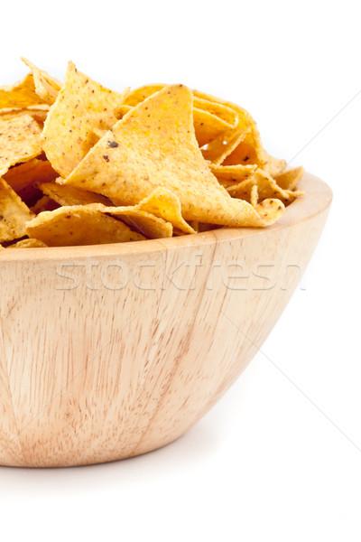 Bowl of crisps against a white background Stock photo © wavebreak_media