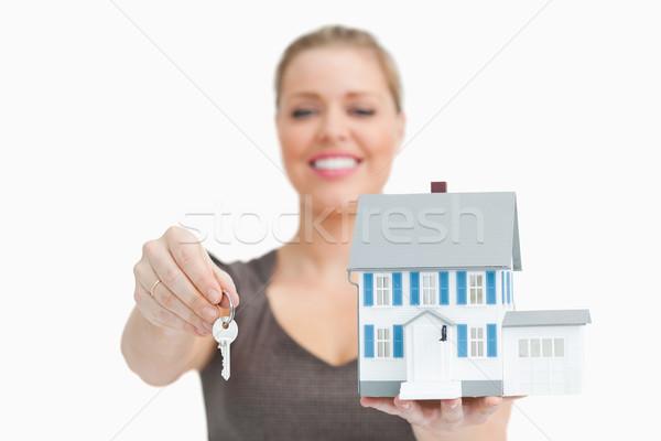 женщину расплывчатый модель дома ключевые Сток-фото © wavebreak_media