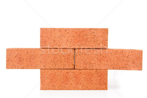 Quatro argila tijolos edifício parede branco Foto stock © wavebreak_media