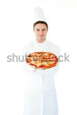 Feminino chef oferta pizza retrato feliz Foto stock © wavebreak_media