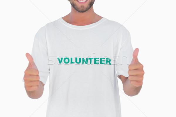 Adam gönüllü tshirt beyaz Stok fotoğraf © wavebreak_media