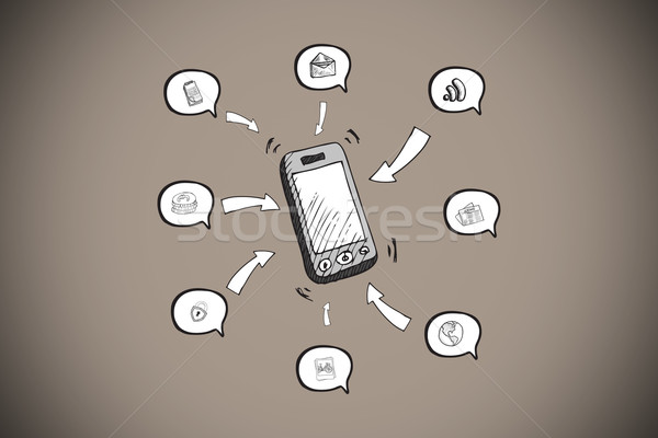 изображение смартфон приложение иконки серый Сток-фото © wavebreak_media