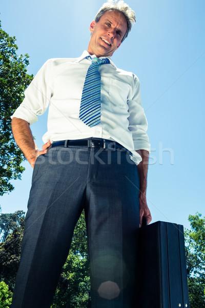 Geschäftsmann tragen Aktentasche Porträt Hinweis Stock foto © wavebreak_media