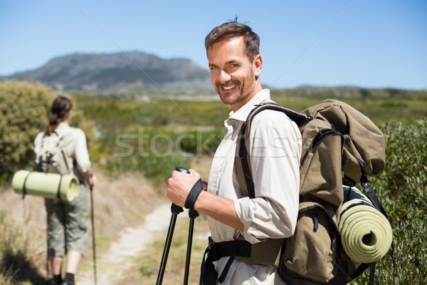 Glücklich Wandern Paar Fuß Land Weg Stock foto © wavebreak_media