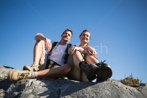 Kirándulás pár néz ki hegy terep Stock fotó © wavebreak_media