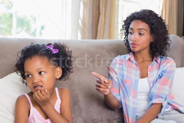 Dość matka posiedzenia kanapie córka domu Zdjęcia stock © wavebreak_media
