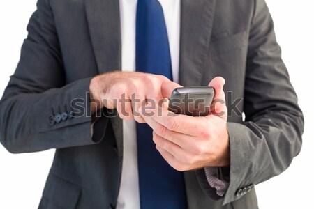 üzletember sms chat telefon kanapé otthon nappali Stock fotó © wavebreak_media