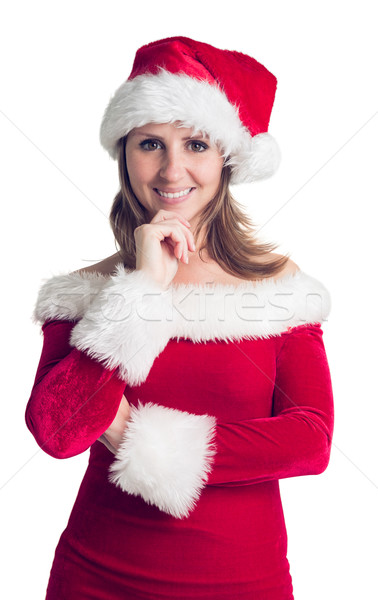 Foto stock: Retrato · mulher · bonita · traje · sorridente · bastante