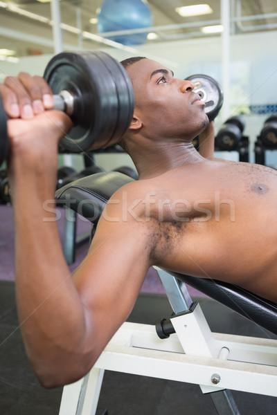 Półnagi młody człowiek hantle siłowni widok z boku Zdjęcia stock © wavebreak_media