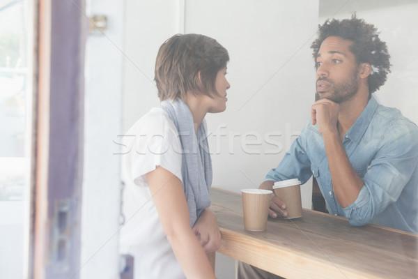 случайный пару кофе вместе кофейня человека Сток-фото © wavebreak_media