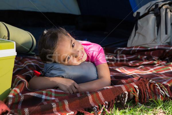 Gelukkig meisje camping reis natuur Stockfoto © wavebreak_media