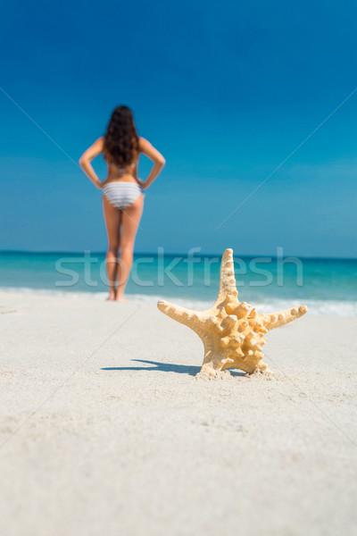 Güzel esmer denizyıldızı plaj kadın Stok fotoğraf © wavebreak_media