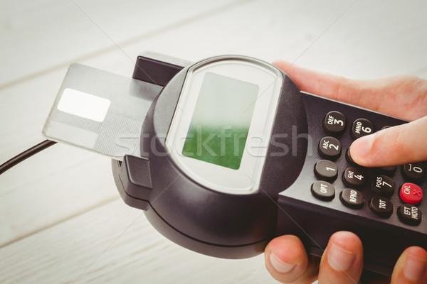 Adam pin ahşap masa alışveriş finanse kredi kartı Stok fotoğraf © wavebreak_media