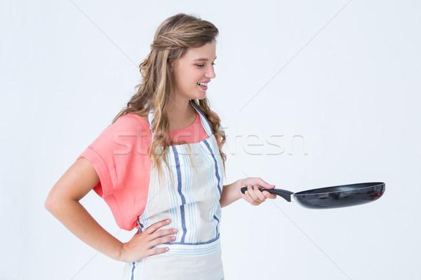 счастливым женщину сковорода белый Сток-фото © wavebreak_media