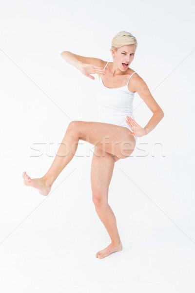 Ijedt nő női fehér stílus áll Stock fotó © wavebreak_media
