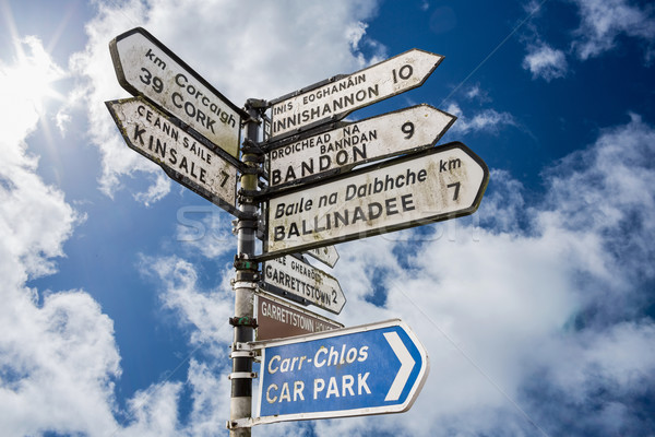 Stock photo: Signpost for places in cork Ireland
