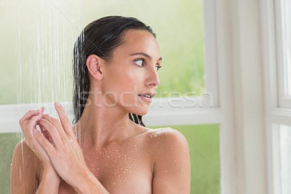 Mooie brunette douche badkamer naakt Stockfoto © wavebreak_media