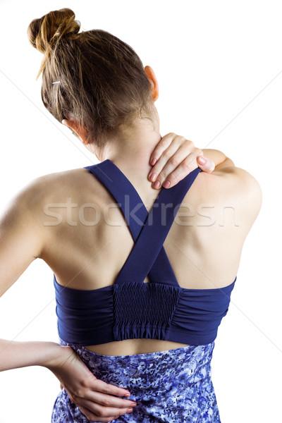Dopasować brunetka szyi szkoda biały zdrowia Zdjęcia stock © wavebreak_media