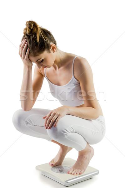 スリム 女性 失望した スケール 白 女性 ストックフォト © wavebreak_media